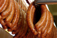 Longanizas or pork sausages for sale Royalty Free Stock Photos