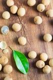 Longans leaf. Fresh longans leaf on table Royalty Free Stock Images