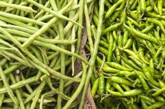 Longbeans и зеленые чили на рынке Стоковые Изображения RF