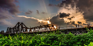 Longbien桥梁,日落 免版税库存照片