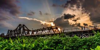 Longbien bridge, sunset. The longbien bridge in ha noi- vietnam Royalty Free Stock Photos