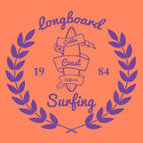 Longboard冲浪的印刷术, T恤杉图表,传染媒介 图库摄影