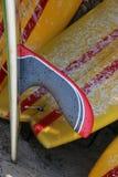 Longboard żebra z Surfboards tłem obrazy stock