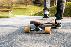 Longboard and boy Royalty Free Stock Photo