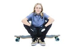 Longboard chłopiec Zdjęcie Royalty Free