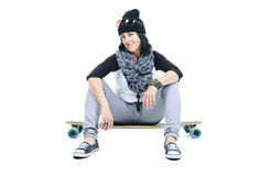 Longboard dziewczyna Fotografia Royalty Free
