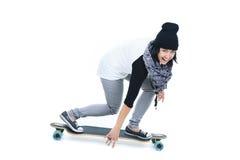 Longboard dziewczyna Zdjęcie Stock