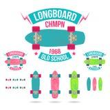 Longboard-Emblem Lizenzfreies Stockfoto