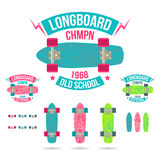 Longboard emblem Royalty Free Stock Photo