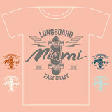 Longboard emblem girl`s retro print Stock Photo