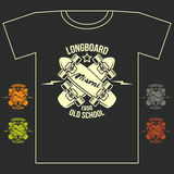 Longboard emblem retro print. With lettering. Graphic design for t-shirt on dark background Stock Photography