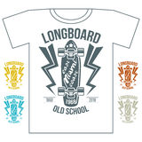 Longboard emblem retro print on white background Stock Photography
