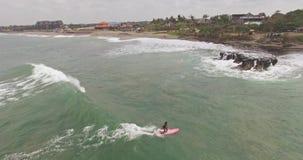 Longboard girl aerial 4k stock video footage