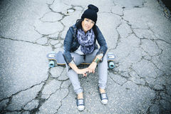 Longboard girl Royalty Free Stock Images
