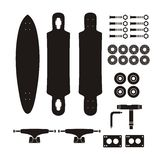 Longboard kits - silhouette Royalty Free Stock Photos