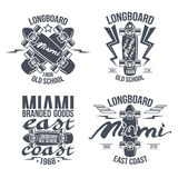 Longboard retro emblems Royalty Free Stock Image
