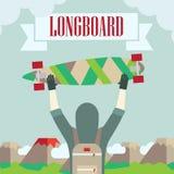Longboard skateboard och Royaltyfri Foto