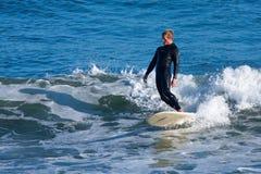 Longboard Surfer Tyler Newell Surfing in Santa Cruz California stock photography