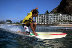 Longboard surfing at Makaha Royalty Free Stock Photos