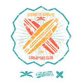 Longboard surfing retro emblem Stock Image