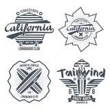 Longboard surfing retro emblem Stock Photography