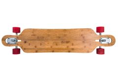 Longboard top view. Longboard skateboard isolated on a white background. Just add your text Royalty Free Stock Photography