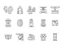 Longboarder accessories thin line icons Royalty Free Stock Images
