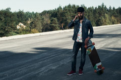 Longboarder on the spot Royalty Free Stock Image