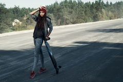 Longboarder on the spot Stock Photography