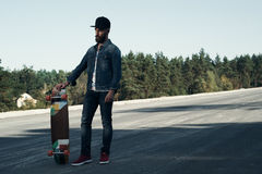 Longboarder on the spot Royalty Free Stock Images