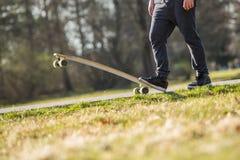 Longboarding. Skate in park, summer stock image