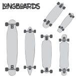 Longboards шаржа различных размеров и видов на белой предпосылке Стоковые Изображения
