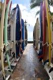 Longboards satnading on arack at famous Waikiki Be Royalty Free Stock Photo