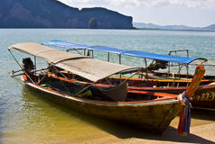 Longboat. Typical thai longboat in the phang nga bay Stock Images