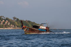 Longboat at bay of Phi Phi island, Krabi province, Thailand Stock Photography