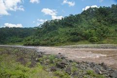 Longboat Ride through Fijian Rainforest Royalty Free Stock Photo
