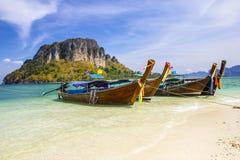 Longboat at Thale Waek. Longboat at Thale Waek (Separated sea) island in Krabi,Thailand Royalty Free Stock Image