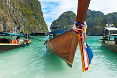Longboat trip in Thailand. Longboat travelling on andaman sea, Thailand Royalty Free Stock Image