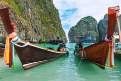 Longboat trip in Thailand. Longboat travelling on andaman sea, Thailand Stock Image