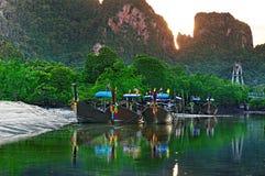 Longboats in the Andaman sea Royalty Free Stock Photo