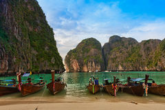 Longboats on May a Beach Thailand Stock Images