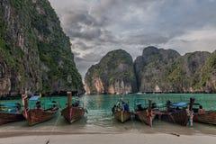 Longboats on May a Beach Thailand Royalty Free Stock Photos