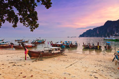 Longboats on Phi Phi island, Royalty Free Stock Images