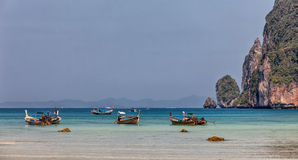 Longboats on Phi Phi island, Thailand Stock Image