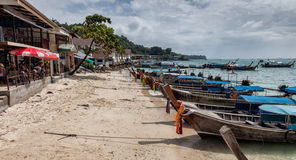 Longboats on Phi Phi island, Thailand Royalty Free Stock Image