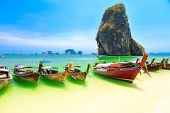 Longboats on Railay beach Royalty Free Stock Photo