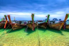 Longboats on Railay beach Stock Photo