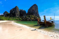 Longboats on Railay beach Royalty Free Stock Images