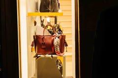 Longchamp women bag in windows store  shopping Royalty Free Stock Photo