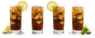 Longdrinks (Cuba Libre) d'isolement sur le blanc photos stock
